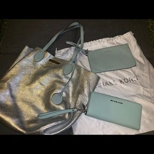 3 pc. Michael Kors Reversible Tote and Wallet
